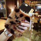 Fashion Bling Warm Furry Rabbit Fur Handbag Case Cover For iPhone 6S 7/Plus