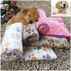 Pet Small Large Size Warm Paw Print Cat Dog Puppy Fleece Soft Blankets Bed Mat