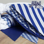 3-12m 10-40FT JILPI PATTERNED BLUE FABRIC BUNTING, STRIPES GINGHAM WEDDING CHIC