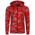 Mens Italian DG Designer fitted Hooded Hoodie Red and Blue Camouflage Print XS