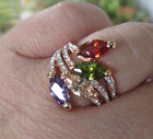 18K Rose Gold Plated Multi Cubic Zirconia  And  Austrian Crystal  Ring