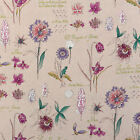 "LINEN COTTON FABRIC UPHOLSTERY CURTAIN VINTAGE CHIC FLORAL TEXT NATURAL 54""WIDE"
