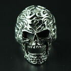 Skull Fire Head Tattoo Flame Size 9 Rider Biker Gothic Ring 925 Sterling Silver