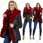 New Ladies Red Faux Fur Collar PU PVC Leather Look Long Biker Jacket Trench Coat