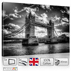 LARGE BLACK AND WHITE LONDON BRIDGE CITYSCAPE - STRETCHED CANVAS WALL ART PRINTS