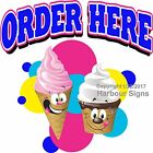 Order Here Ice Cream DECAL (Choose Your Size) Food Truck Vinyl Sign Concession