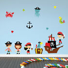 Cartoon Pirate Wall Sticker Set Pirate Ship Wall Decal Kids Bedroom Home Decor