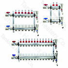 2-12 Loop PEX Manifold Radiant Floor Heating Set Stainless Steel and Connectors