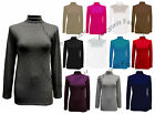 Polo Neck Top Ladies Roll Neck Top Womens Turtle Neck Long Sleeve Top S-XXXL