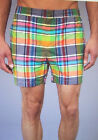 NEW HUGO BOSS Ribbonfish multi color plaid swim trunks board shorts XL 38 40