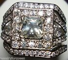 Princess cut 3pcs CZ Cubic Zirconia Engagement Wedding Ring Set size 5 to10