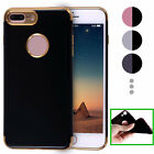 Full Jet Black Soft Silicone Case For iPhone 7 7 Plus Plating Border TPU Cover