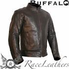 BUFFALO NAVIGATOR BLACK LEATHER THERMAL REMOVABLE ARMOUR MOTORCYCLE BIKE JACKET