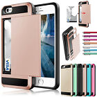 Card Pocket Wallet ShockProof Hybrid Armor Case Cover For iPhone&Samsung Galaxy