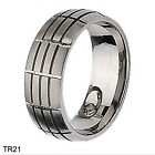 Mens Brushed Grooves Titanium Wedding Ring Anniversary Band Size 3-18