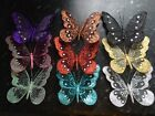 18cm Glitter Jewelled Clip Butterfly Butterflies Large Wedding Decorative Mesh