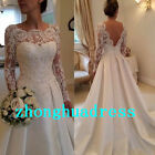 In Stock Long Sleeve White/Ivory Satin Wedding Dress Bridal Gowns Size 6 to 24