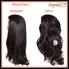3/4 WIG #BLACK PLUM Wavy Straight Clip in Hair Piece Long