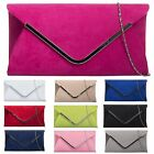 SUEDE ENVELOPE PARTY EVENING PUB WEDDING BRIDAL PROM HOLIDAY CLUTCH HANDBAGS