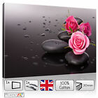 LARGE PINK ROSE AND BLACK STONES ZEN CALMING LOVE CANVAS WALL ART PRINT PICTURES