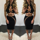 Women Top and Skirt Evening Cocktail Party Bandage Bodycon Shirt&Skirt Bodysuit
