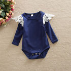 Newborn Baby Girls Tops T-shirt Toddler Kid Blouse Lace Clothing Striped 0-24M
