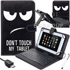 "For Samsung Galaxy Tab E 7"" 8"" 9.6"" TABLET USB Keyboard Folio Leather Case Cover"