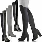 Womens Ladies New Over The Knee Boots Thigh High Block Heels Stretchy Shoes Size