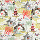 Coral Upholstery Fabric, Asian Toile Drapery Curtains Fabric by the yard