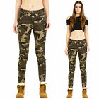 New Womens Mid Rise Slim Skinny Stretch Army Military Camouflage Trousers Pants