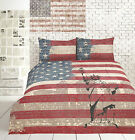 RETRO Quilt Cover Set - US flag Bed Linen Sheet -Bedding DOUBLE QUEEN KING