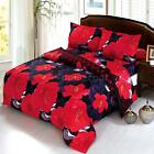 4Pcs 3D Bedding Set Red Peony Queen/King Size Quilt Cover Sheet Pillowcases A1T5