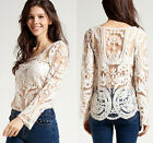 2015 Women's Semi Sleeve Sheer Embroidery Floral Lace Crochet T-Shirt Tops