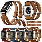 Luxury Leather Double Buckle Cuff Watch Band Strap For Apple Watch Series 2 / 1