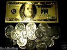 31.0 GRAMS 90% SILVER HALVES AND QUARTERS MIXED LOT + 1 99.9% 24K GOLD $100 BILL