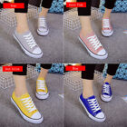 Women/Men's Canvas Casual Low Top Sneakers Lace Up Flat Plimsoll Shoes 4 Colors
