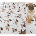 Pugs All Over Duvet Cover with Paw & Bone - Cute Puppy Dog Bedding Set - White