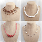 4 Vintage-Now Jewelry Red Brown White Fx Pearl Misc Choker Style Necklaces