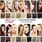 "16""18""20""22"" Full Head Hair Extensions Clip In 100% Real Human Hair 16 Colors"