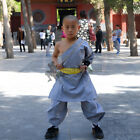 Gray Cotton Summer Shaolin Monk Robe Kung fu Suit Martial arts Tai chi Uniform
