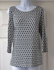 New M&S Ivory Navy  Print Cold Shoulder Stretch Jersey Top Size 10 12 14 16