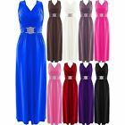 A237 Long Bridesmaid Party Cocktail Prom Evening Buckle Plus Size Womens Maxi Dr