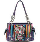 Cowgirl Trendy Candy Rainbow Sugar Skull Purse Handbag Shoulder Bag Wallet Set