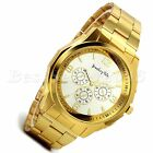 Luxury Mens Business Gold Tone Stainless Steel Sports Quartz Analog Wrist Watch