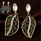 1 Pair New Womens Gold/Silver Plated Gem Leave Dangle Party Earrings