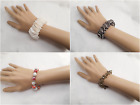 4 Different Fashion Jewelry Silver Black White Red Glass Adjustable Bracelet
