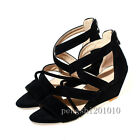 Roma Fashion Peep Toe Women Suede Cross Strappy Cross Wedges Sandal Shoes New