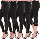 Damen Stretch Leggings Leggins Treggings High Print Muster Blumenprint Bunt ★F3