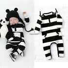 New Cotton Newborn Baby Infants Cute Black and White Striped Crawler CaF802