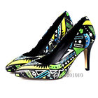 Women Fashion Pointy Toe Mix Color Printing Pump Clubwear Party Shoes